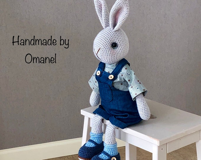 William, a Sweet and Tough Boy Rabbit - Handmade by Omanel