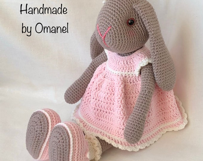 Sweet rabbit with Hanging ears complete with pink crochet dress and shoes - Handmade by Omanel