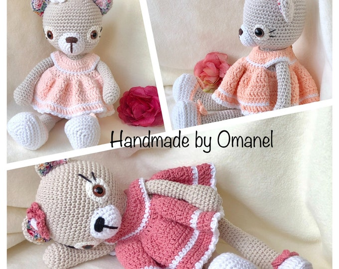 Bear Doris with dress , Handmade by Omanel.