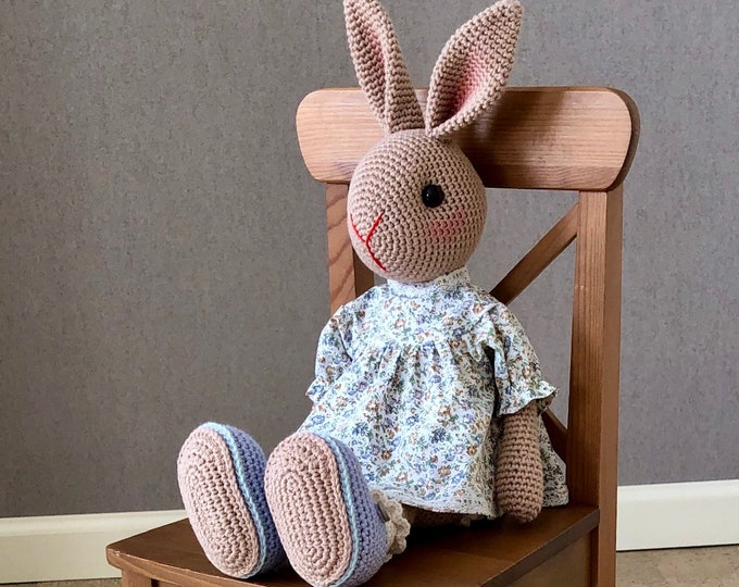 Sweet Rabbit with standing ears complete with cute dress and matching shoes