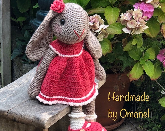 Sweet Rabbit with Hanging Ears and coral red dress - Handmade by Omanel