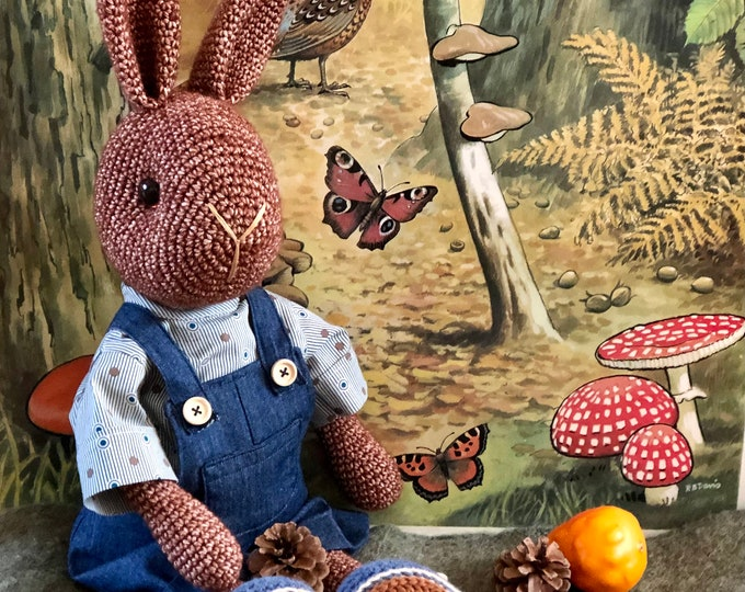 Sweet and tough Brown Rabbit - Handmade by Omanel