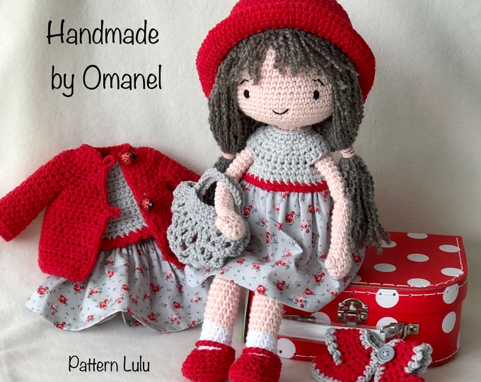 Pop Rosa, a delicious play doll with clothes and briefcase - Handmade by Omanel