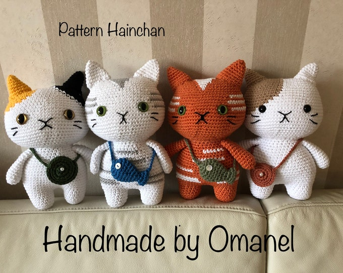 sweet cat with small bag - Handmade by Omanel