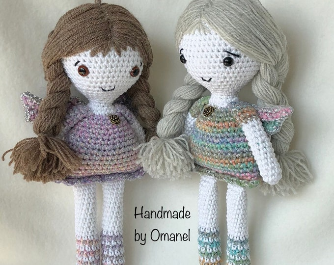 Christmas little Angel Doll with glitter dress Handmade by Omanel