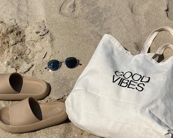 """Large Tote """"Good Vibes"""" Beach Bag - beach trip - honeymoon bag - shore bag - neutral bag - Beach tote - Canvas"""