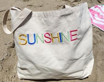 Large Summer sunshine Beach Bag - beach trip - honeymoon bag - shore bag - neutral bag - Beach tote - Canvas