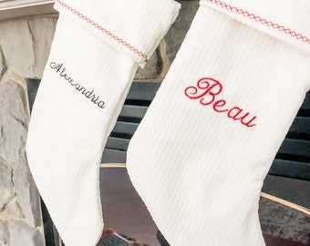 Personalized Embroidered Name White Stockings   Personalized embroidery Christmas Stocking   White Stockings   Family Stocking   Customized