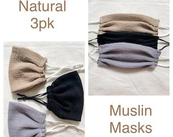 Muslin SOFT Face Mask - super soft and comfortable! breathable muslin mask - **Reduces glasses fogging up** anti-fog mask - summer mask -