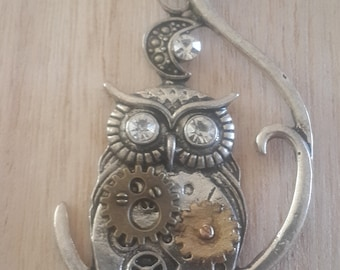 Steampunk Owl and Moon Necklace
