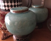 1900-1909 Chinese Celadon Jar Pair and Rosewood Stands w marking
