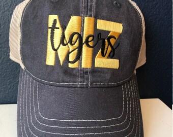 e4c2bcfbaa4 Missouri Trucker Hat  University of Missouri Hat  Tigers Hat MIZZOU Trucker  Hat  Grey Trucker w  Gold and white