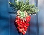 Tulip Carrot Swag, Easter Door Decor, Orange Tulip Wreath, Garden Door Hanger