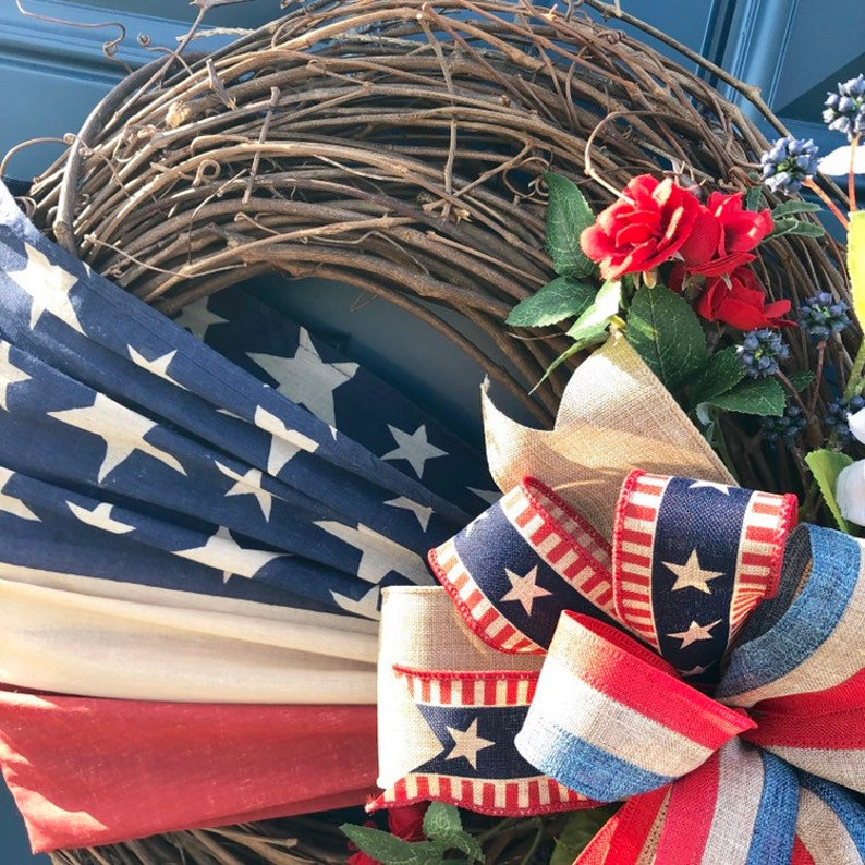 Rustic Americana Porch Patriotic Wreath