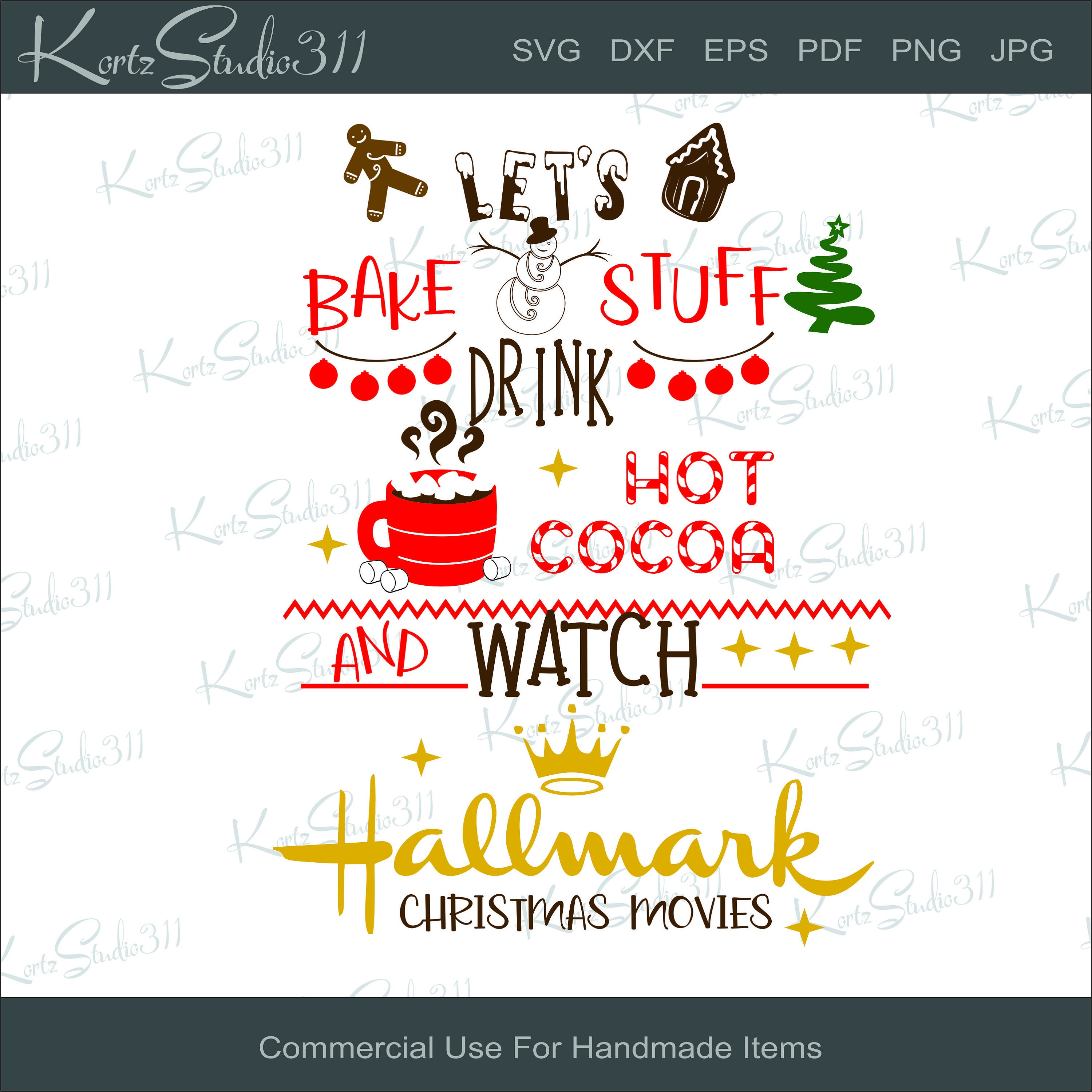SVG Let's Bake Stuff And Drink   - Instant Download - eps - dxf - Cut File  - For Cricut - For Silhouette - Commercial Use Cut File - svg142
