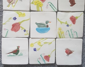 Handmade beautiful unique tiles country/animal