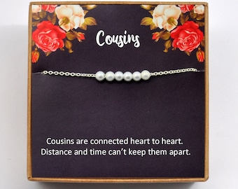 Cousins Bracelet Gift For Sisters Best Friends Birthday Long Distance Pearl