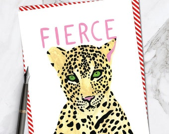 A6 size Vintage Card BIG CAT Card Africa Theme Card Lot of 5 Leopard Card Leopard Artwork Stationery Gift Leopard Card NOS
