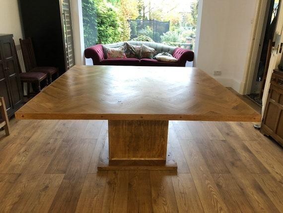 Square Parquet Dining Table Solid Oak Herringbone Design Etsy