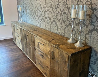 Large sideboard - Bespoke measurements and designs available on request. Industrial / rustic style.