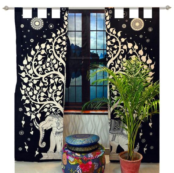 Urban Elephant Mandala Curtains Set Decorative Indian Tapestry Tab Top Curtains