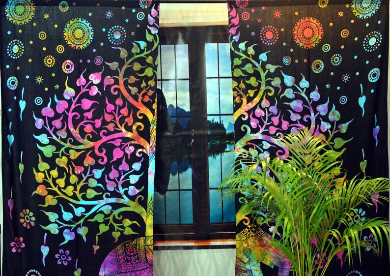Bohemian Tie Dye Mandala Curtains Boho Window Treatment Elephant Dorm Decor Gypsy Tapestry Window Curtains Drapes Valances Hippie Curtain