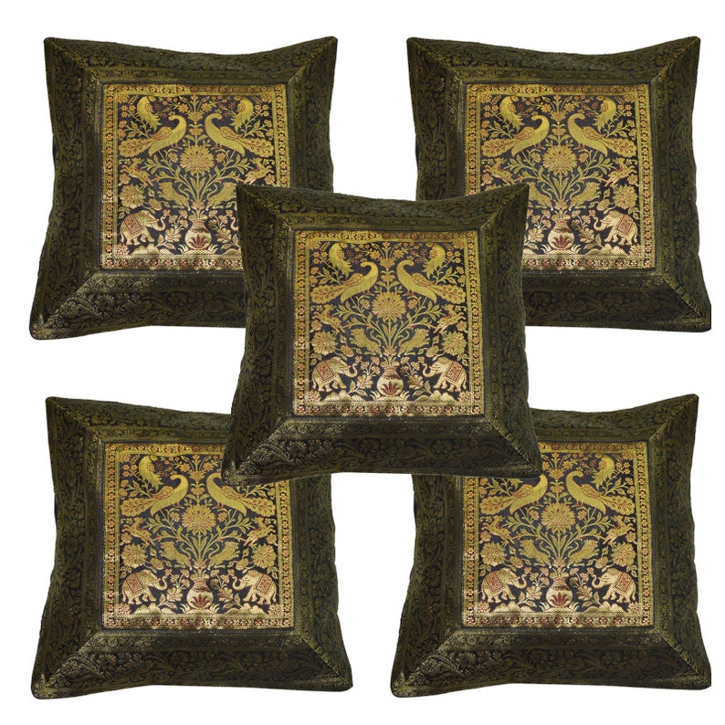 Indian Home Decor Silk Cushion Banarsi Silk Pillow Cover 17