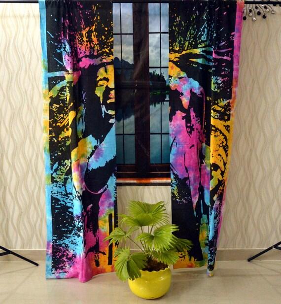 Indian Mandala Curtain Panel Elephant Living Room Tab Top Luxury Door Curtains
