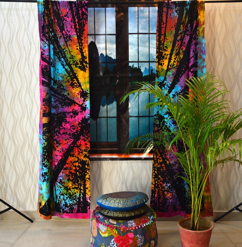 Forest Tree Tab Top Curtains Indian Tie Dye Wall Arts Drape Home Living Room Tapestry Dorm Window Curtains Drapes Valance Window Treatments