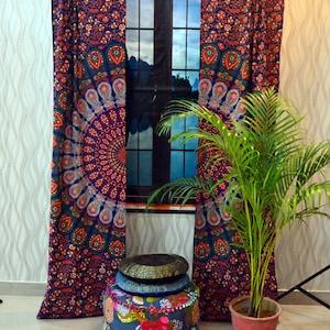 Psychedelic Mandala Curtain set Drape Balcony Room Decor Horoscope Curtains Urban Purple Tapestry Window Dorm Throw Curtains Drapes Valances