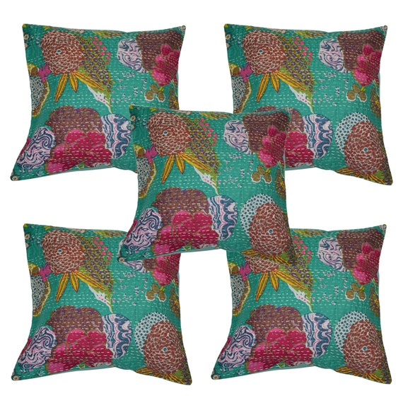 Excellent Indian New Handmade Floral Printed Kantha Cushion Cover Cotton Fruit Ethnic Sofa Pillow Cases Cushion Cover Set Cushion Throw Cover Set Ncnpc Chair Design For Home Ncnpcorg