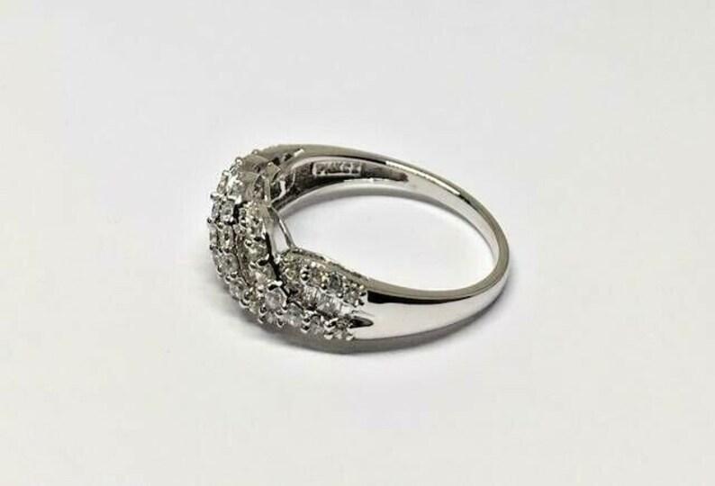 14k White Gold Round /& Baguette Diamonique CZ 1.00ctw Swirl Ring Size 8
