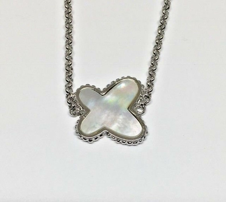925 Sterling Silver Rhodium Plated Mother of Pearl Stationary Butterfly Necklace