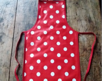 Apron red and white polka dot oilcloth