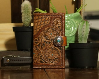 leather wallet, leather phone case, phone case, cell phone case, hand tooled,