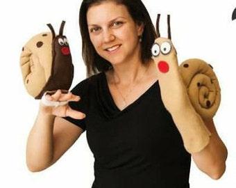 children hand puppet, cloth snail doll