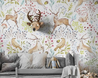 woodland wallpaper etsywoodland wallpaper light woodland animals wall decor, nursery woodland wall mural, animals, delicate wallpaper, baby room decor 92