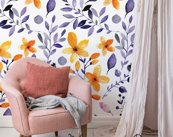 Navy Floral Wallpaper Yellow Abstract Wand Wandbild, Aquarell Blumen, Moderne  Tapeten, Abnehmbare Oder Traditionelle #57