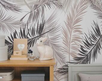 Palm Abnehmbare Tapete, Goldene Blätter, Tropische Wand Dekor, Moderne  Wandkunst, Minimalistischer Druck, Palme Blatt Wandkunstr #35