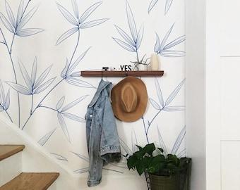 Leaf Wand Kunst, Abnehmbare Tapete Blätter Wand Wandbild, Blatt Wand Dekor,  Pastell Tapete, Moderne Kunst, Zeitgenössische Tapete #47