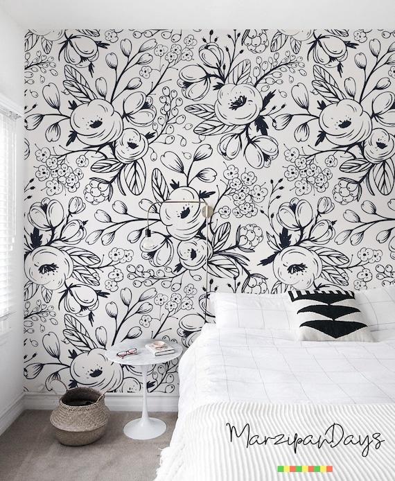 Schwarz Weiss Tapete Nursery Wall Wandbild Florale Tapete Etsy