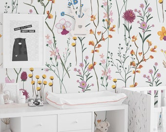 WIld flowers removable wallpaper - Garden flowers wall mural, Watercolor, Bright wallpaper, Colorful wall decor, Wall decals #89