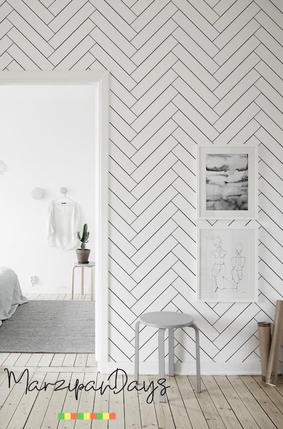 tapete in schwarz wand design bilder, fischgrätenmuster tapete-schwarz-weiß minimalistische tapete | etsy, Design ideen