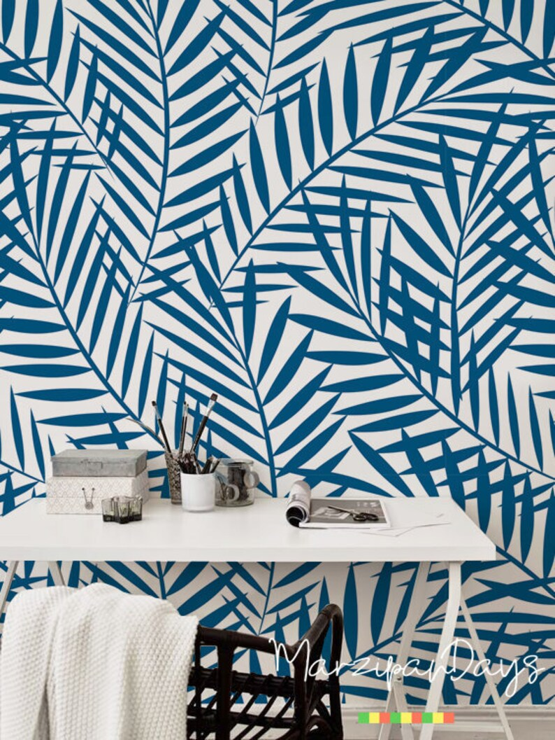wall art contemporary wall decor Blue Tropical watercolor feather removable wallpaper geometric leaves self-adhesive wall mural #105