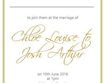 Elegant Gold Wedding Invitation Set