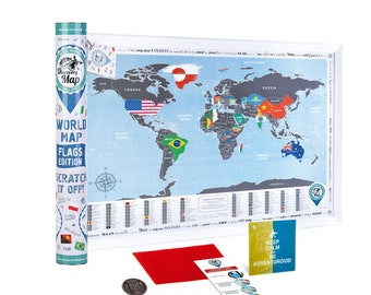 Scratch off World Map FLAGS EDITION - 26.8x19'' Bright Travel Map w/ Countries Flags - Premium Compact Scratch off Map w/ Silver Foil