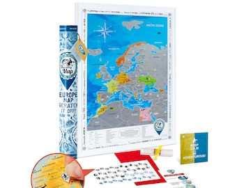 Scratch off EUROPE Map - Premium Quality 19x26.8'' Silver Travel Map of Europe w/ Detailed Cartography - Deluxe Large Scratch off Poster