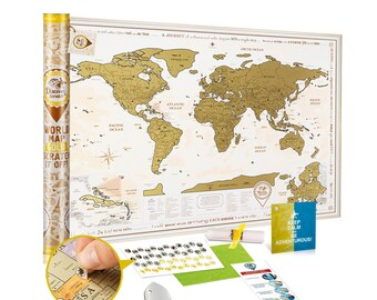 Scratch off World Map GOLD - Premium Quality 34.7x24.4'' Travel Map w/ Detailed Cartography - Large Scratch off Map w/ US States