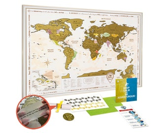 Framed world map etsy framed scratch off world map gold premium quality travel map with white golden wooden frame 362x26 large scratch off poster w us states gumiabroncs Gallery