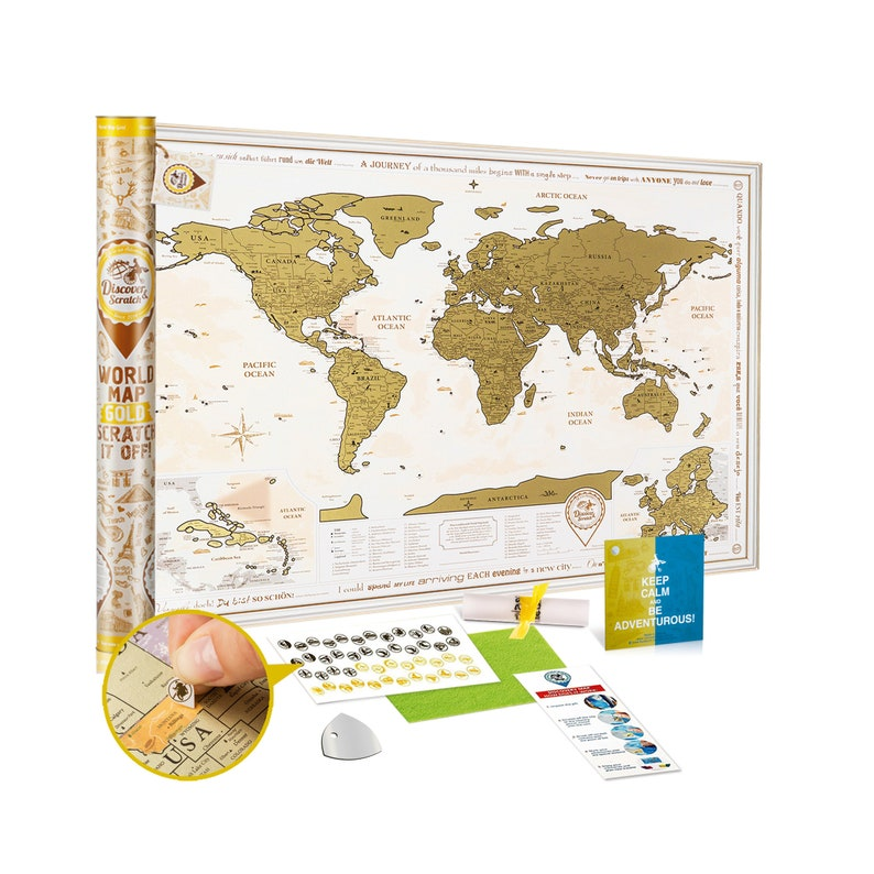 Scratch Off World Map With Us States.Scratch Off World Map Gold Premium Quality Etsy